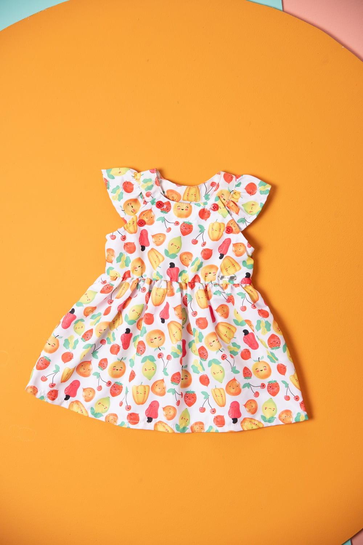Vestido bebê estampa frutinhas