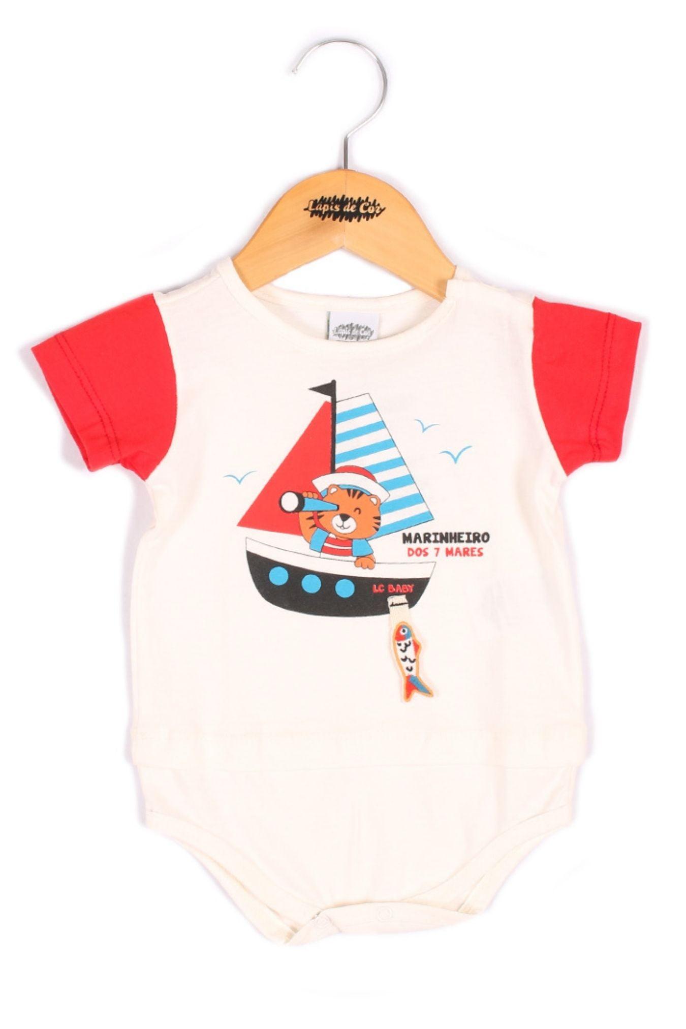 Body bebê com estampa de barco