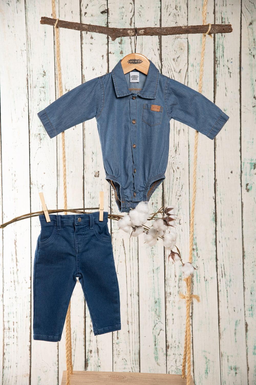 Body/camisa bebê manga longa jeans