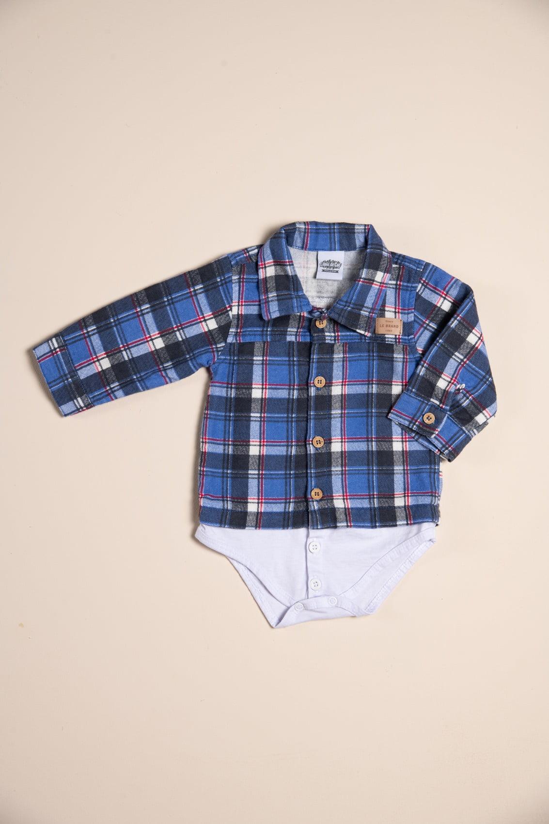 Body/camisa bebê xadrez manga longa