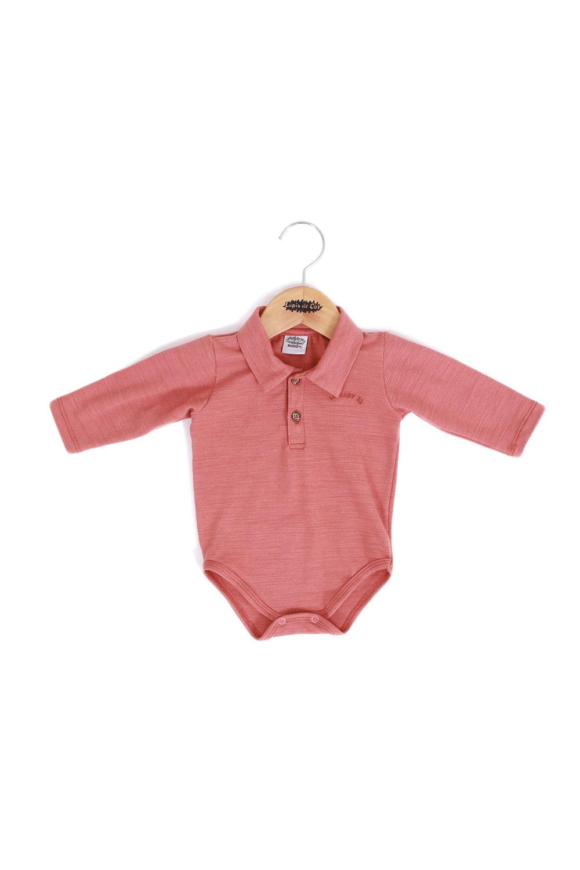 Body polo bebê manga longa com bordado