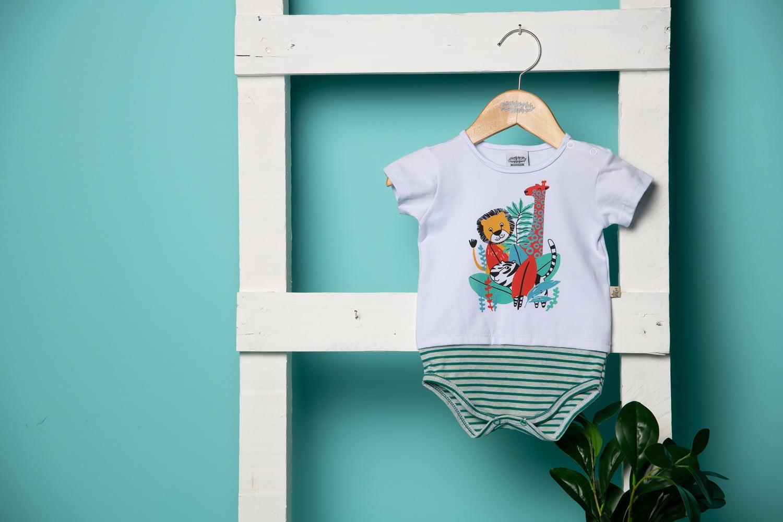 Body/T-shirt bebê listrado