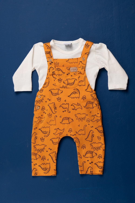 Conjunto bebê body manga longa e macacão todo estampado