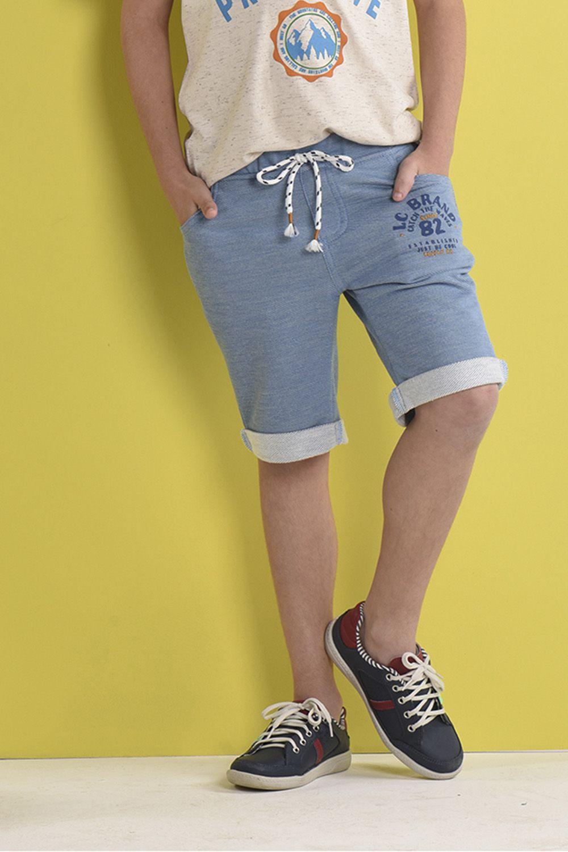 Bermuda de Moletinho Jeans com Silk e Bordado