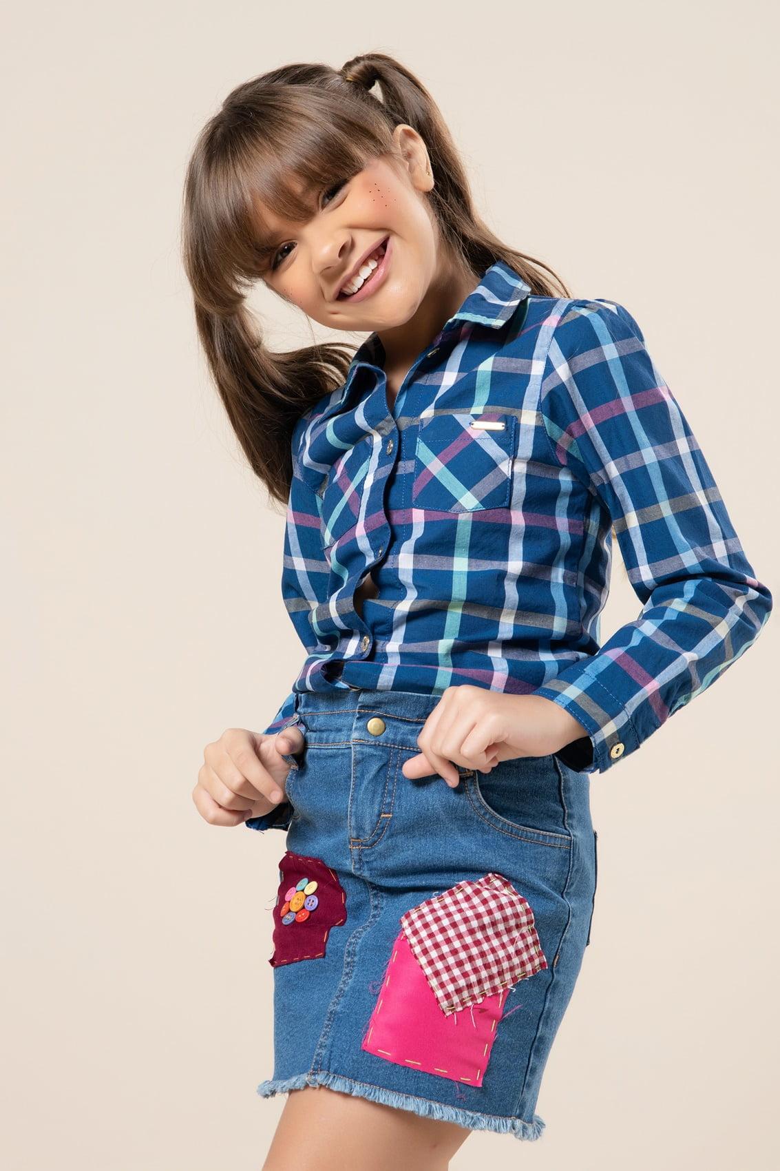 Camisa infantil xadrez manga longa