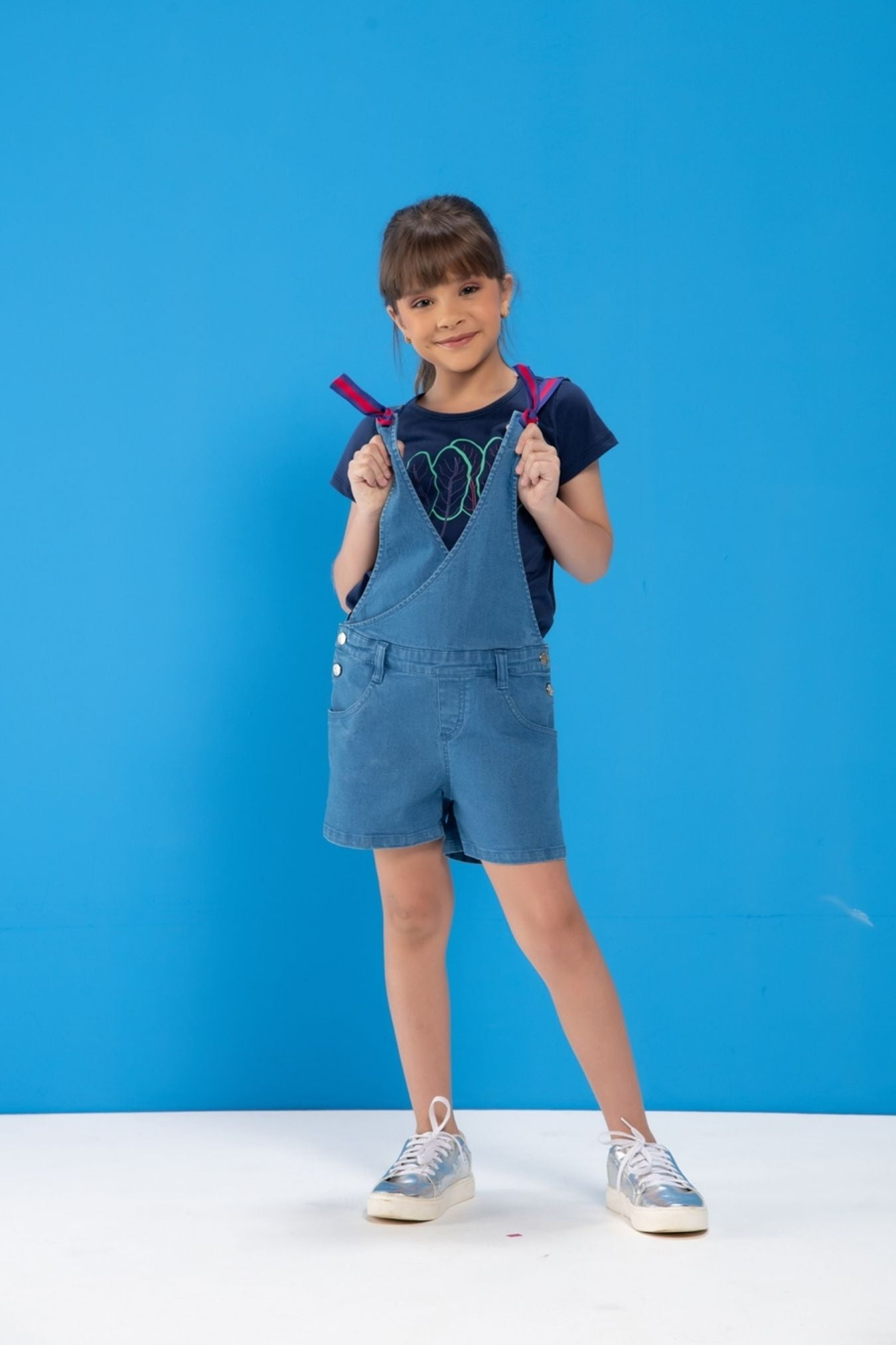 Jardineira infantil jeans trespassada