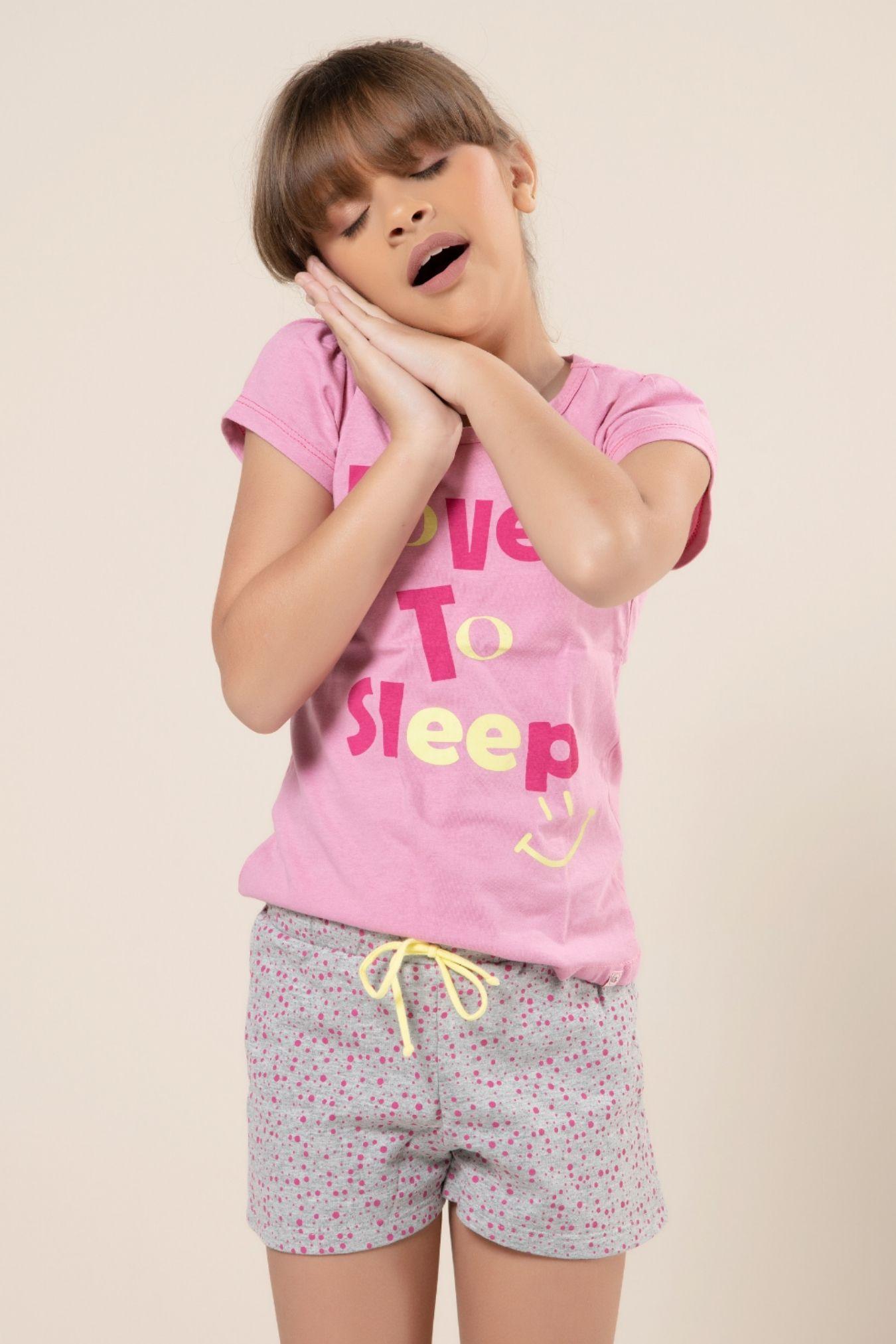 "Pijama infantil com estampa ""Love to sleep"""