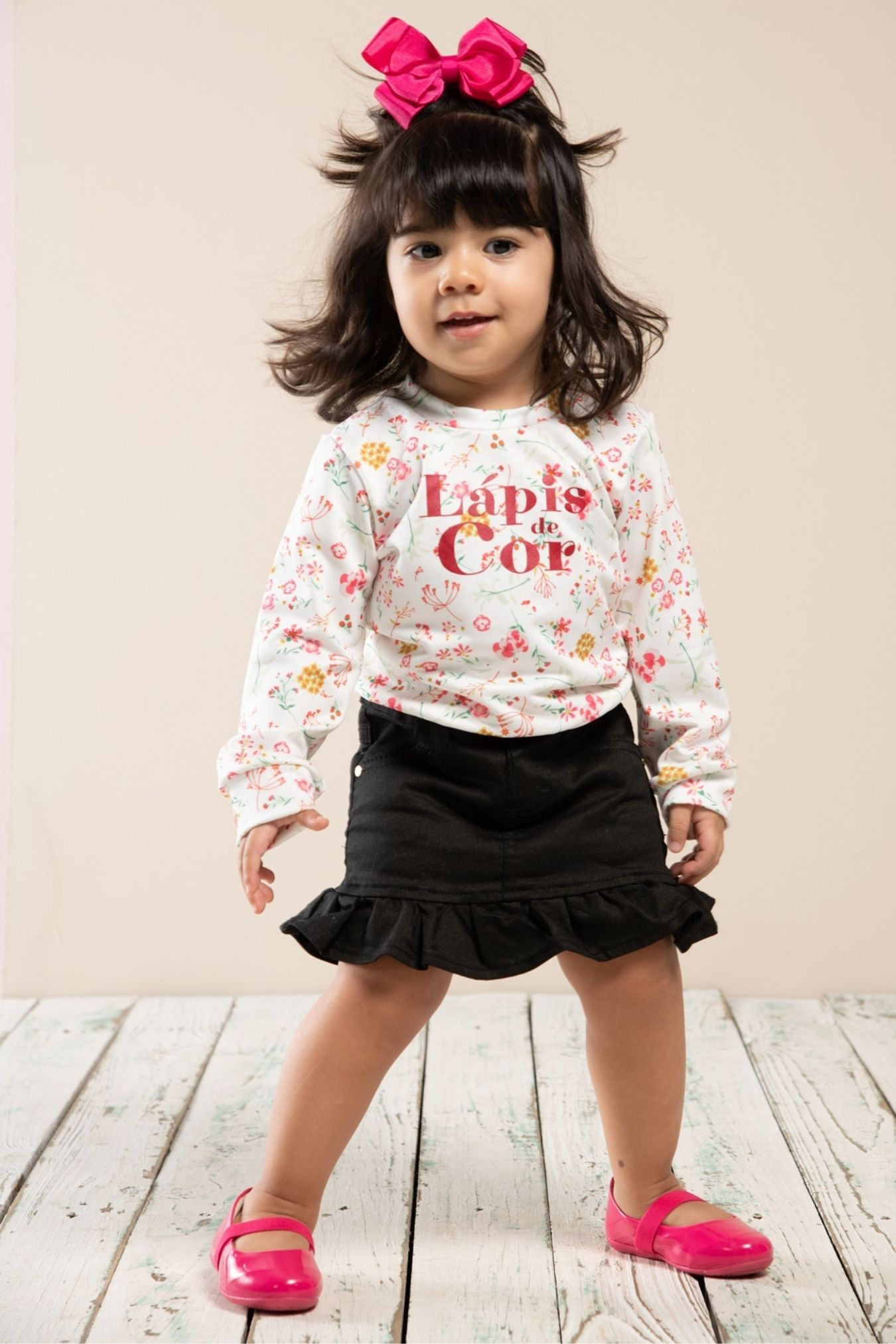 Pull infantil com estampa floral