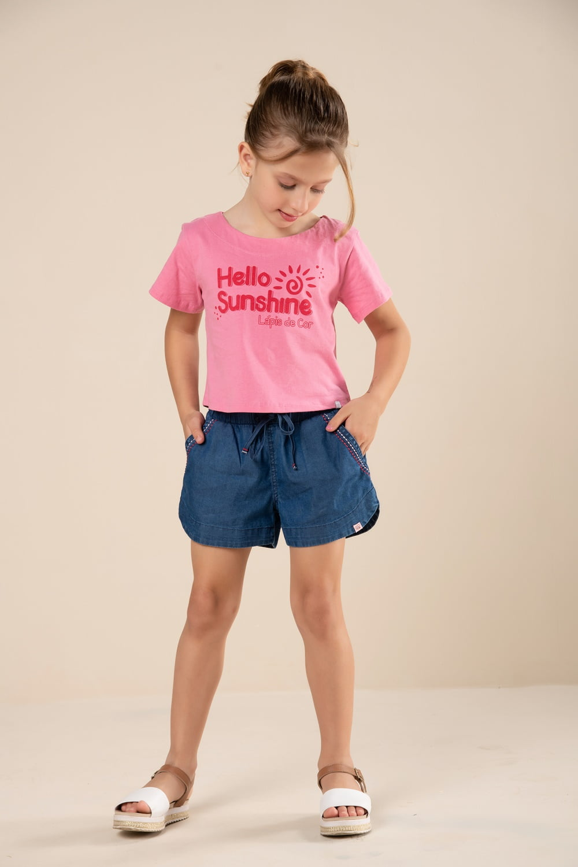 Short infantil jeans com bordado