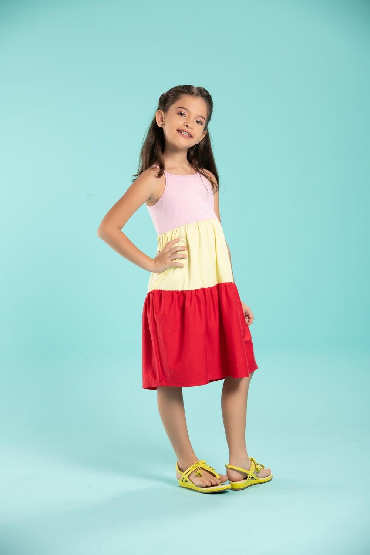Vestido infantil de malha 3 cores