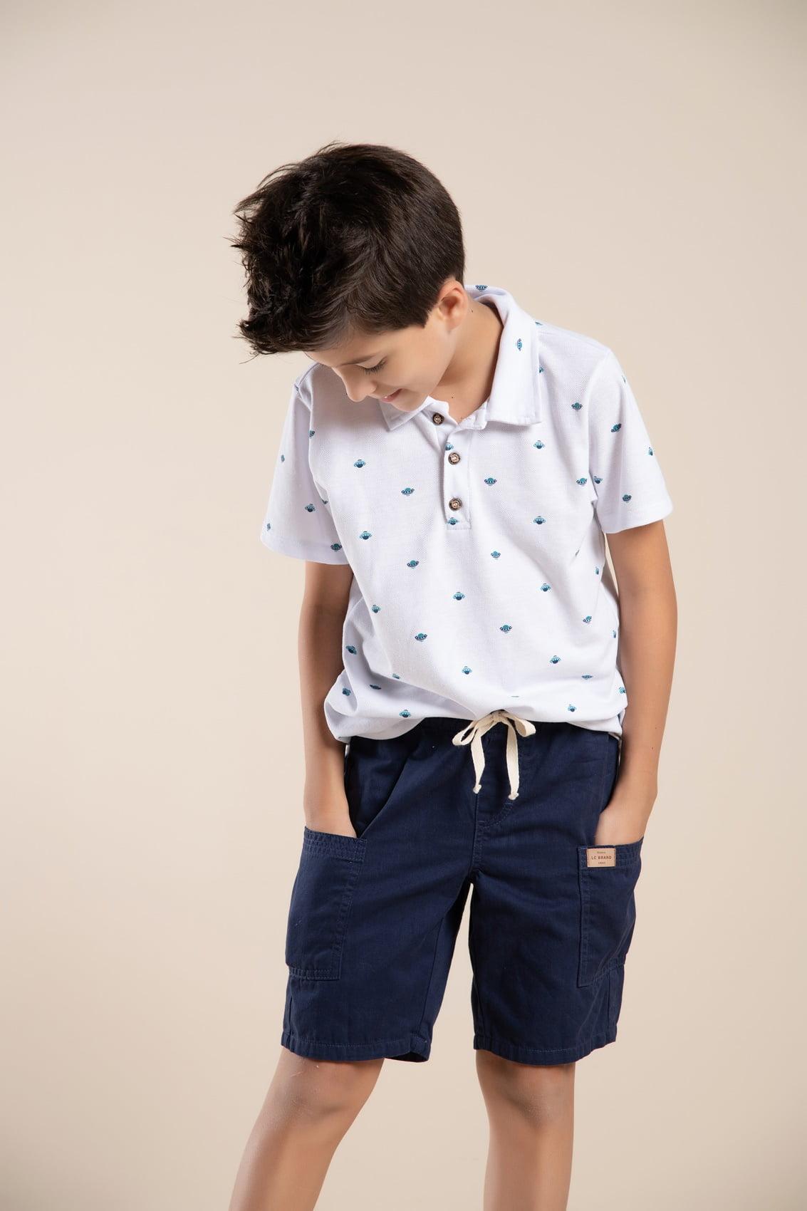 Bermuda infantil color com bolso lateral