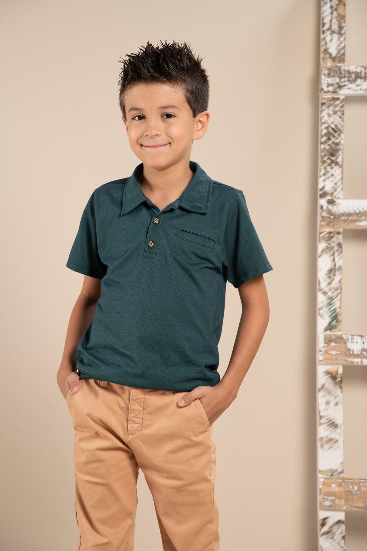 Camisa polo infantil com bolso