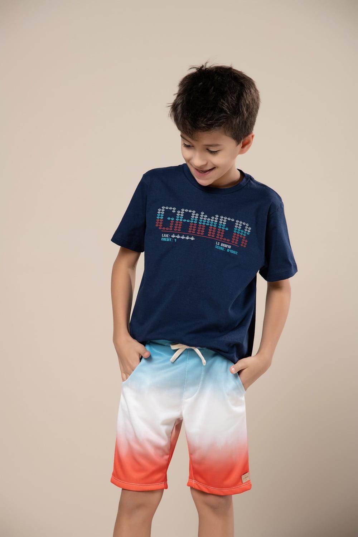 "T-shirt infantil manga curta com estampa ""gamer"""