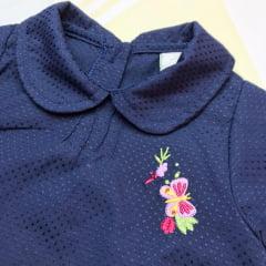 Bata bebê manga longa com bordado