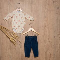 Calça bebê jeans com babadinho