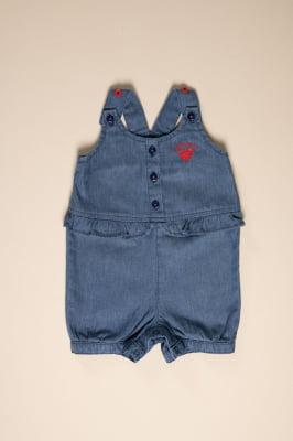 Pimpão bebê jeans com bordado e babado