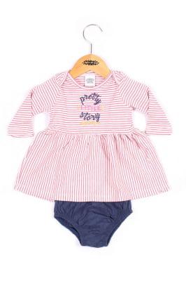 Vestido bebê manga longa listrado com bordado