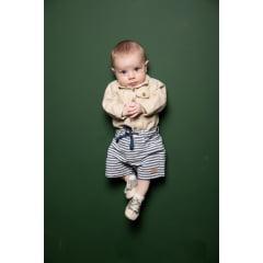 Bermuda bebê listrada com cadarço