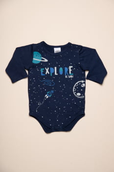 Body bebê manga longa com estampa