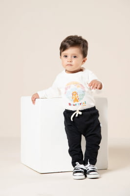 Body bebê manga longa com estampa de urso