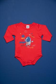 Body bebê manga longa estampa astronauta