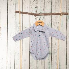Body polo bebê manga longa com estampa de folhas