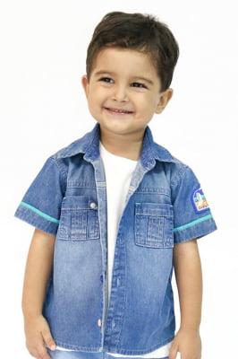 Camisa bebê Jeans com Bolsinho