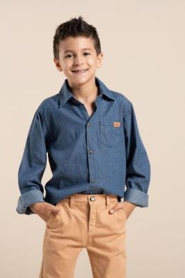 Camisa infantil jeans manga longa
