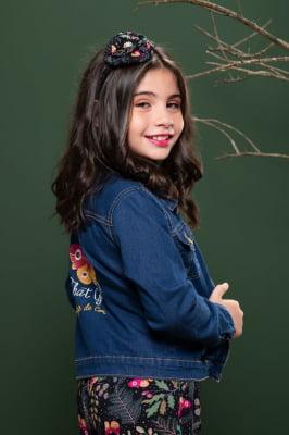 Jaqueta infantil jeans com zíper