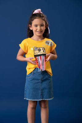Saia jeans infantil modelo clochard