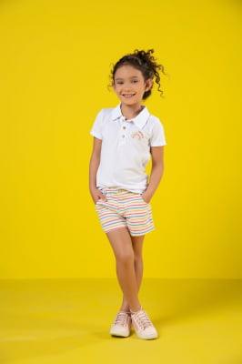 Short infantil com listras coloridas