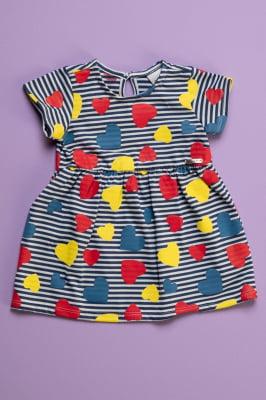 Vestido bebê listrado estampa corações