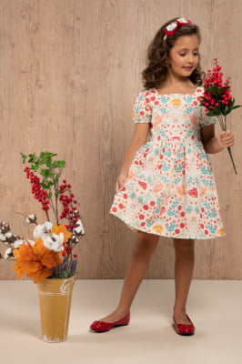 Vestido infantil com estampa exclusiva