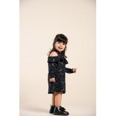 Vestido infantil manga longa estampado