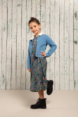 Vestido infantil midi manga longa com estampa digital exclusiva