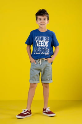 Bermuda infantil jeans tecido ecológico