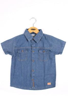 Camisa infantil jeans com bordado