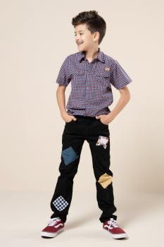 Camisa social infantil manga curta xadrez