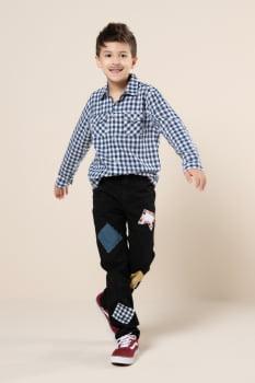 Camisa social infantil manga longa xadrez