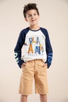 T-shirt infantil manga longa com estampa exclusiva