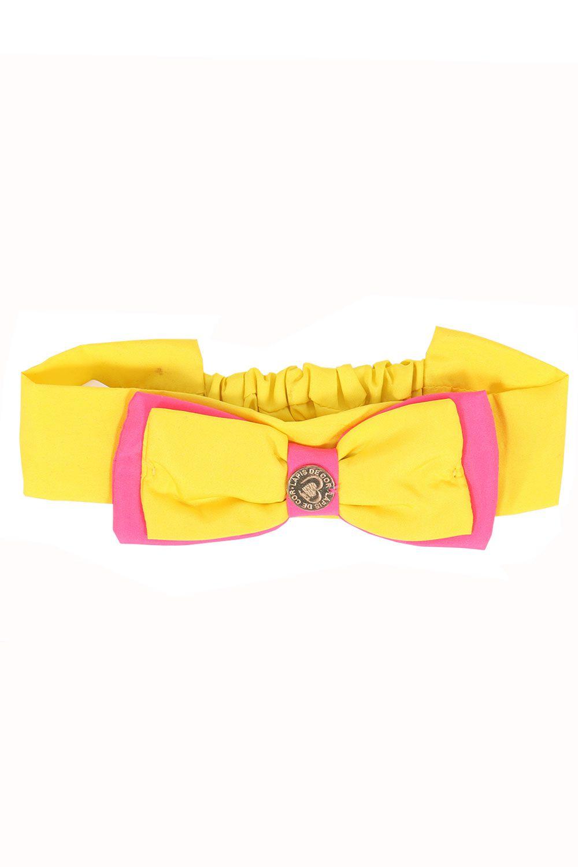 Tiara Baby Amarela Com Laço Duas Camadas e Elastico