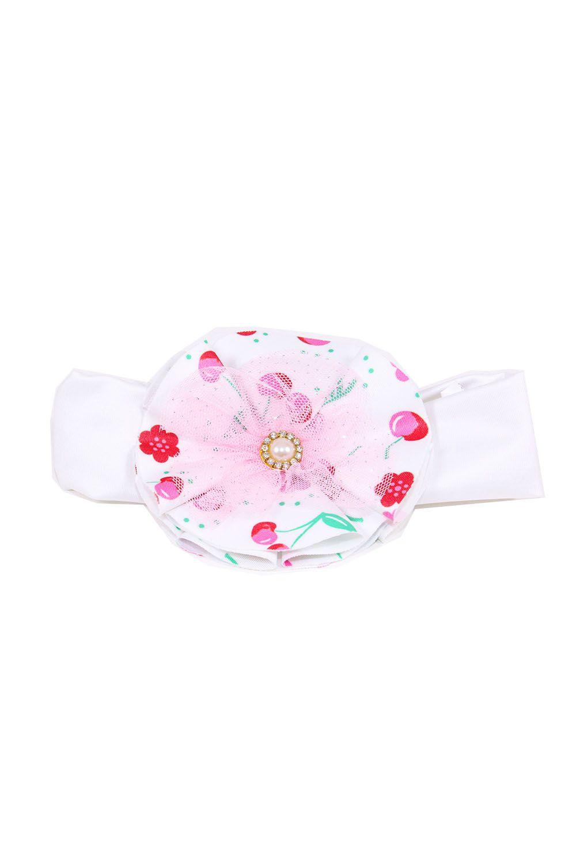 Tiara Branca com Flor Estampada de Cerejas